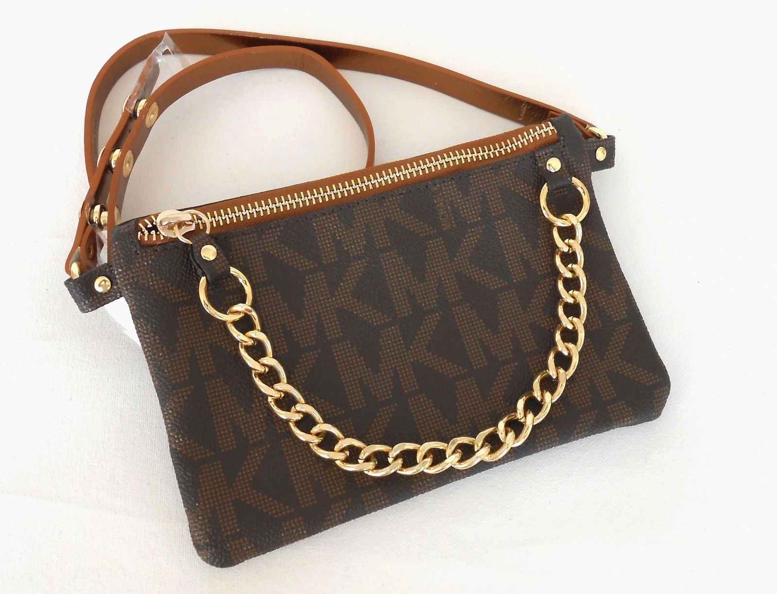a7aca79a193db SOLD OUT! Michael Kors Chocolate Mk Logo Leather Fanny Pack   Belt Bag